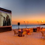 Dinner and movie on the beach photo